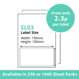 Single Integrated Label SL03 – 250 or 1000 Sheets